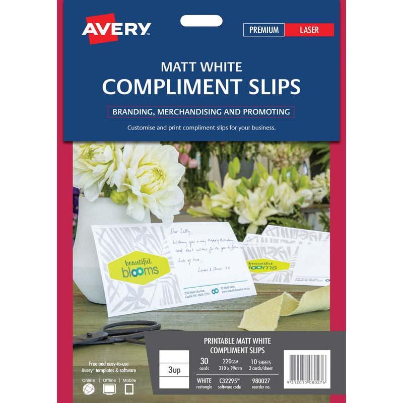 Avery Compliment Card C32295 Matt White D/S 3 Up 10 Sheets Laser 210x99mm