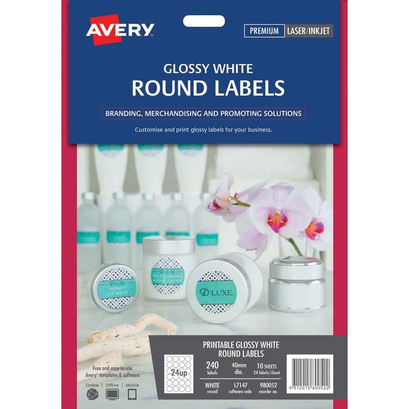 Avery Label L7147 White Gloss Round 24 Up 10 Sheets Laser Inkjet 40mm