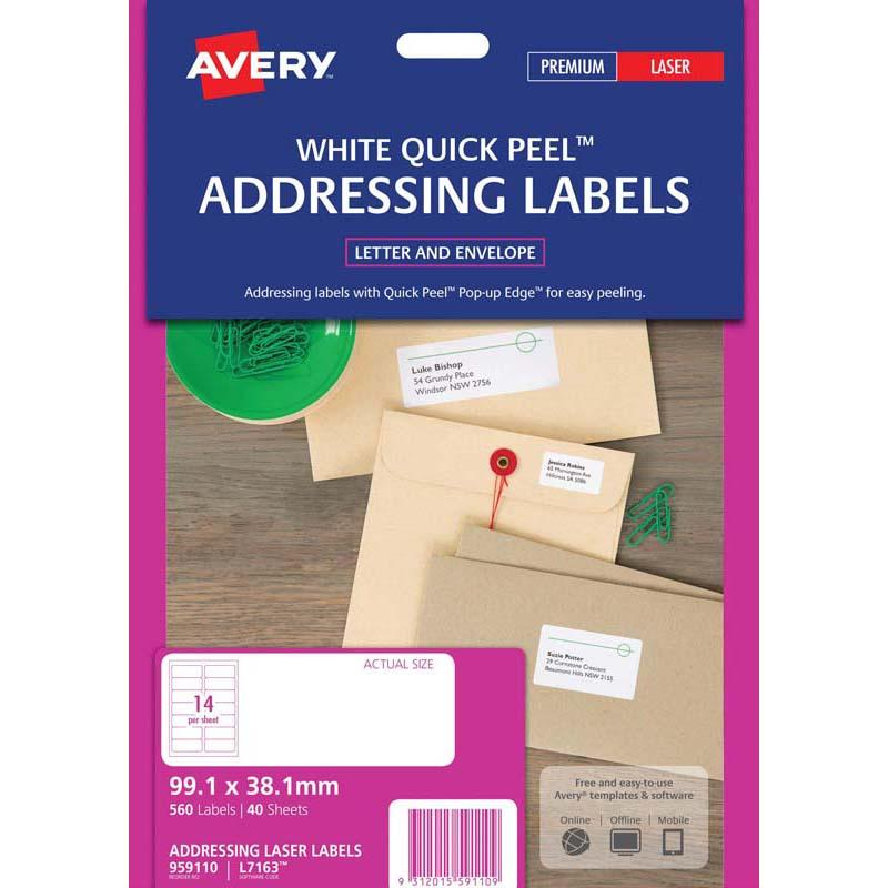 Avery Addressing Labels L7163 White 14 Up 40 Sheets Laser 99.1x38.1mm Quick Peel Pop Up