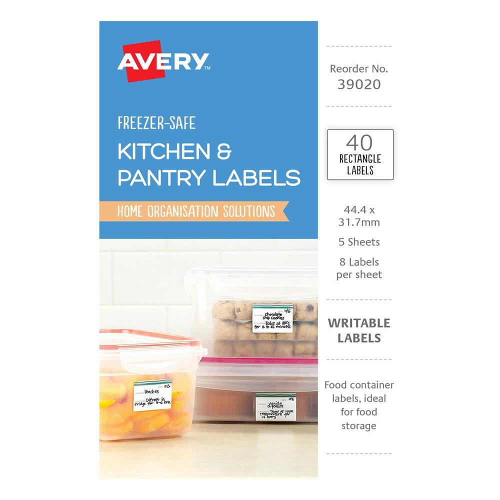 Avery White Blue Rectangle Removable Freezer-Safe Labels 40/Pack 44.4x31.7 mm