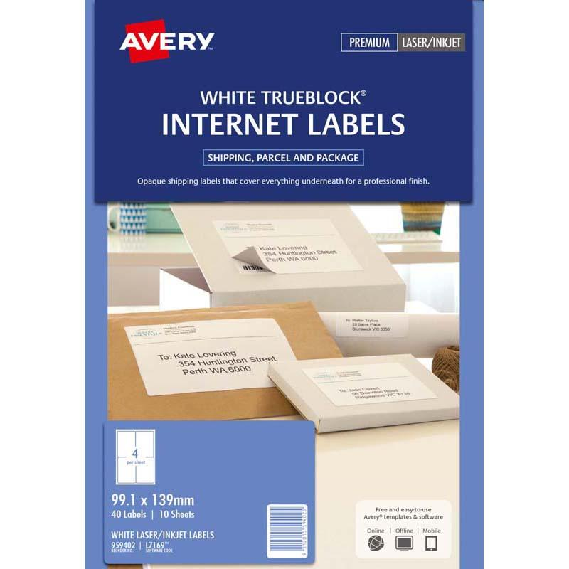 Avery Label L7169 Internet Shipping Label 99.1x139mm 4 Per Sheet 10 Pack