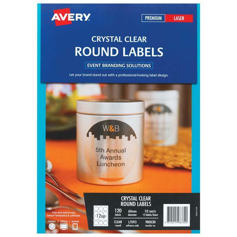 Avery Label L7093 Round Crystal Clear 60mm 12up 10 Sheets