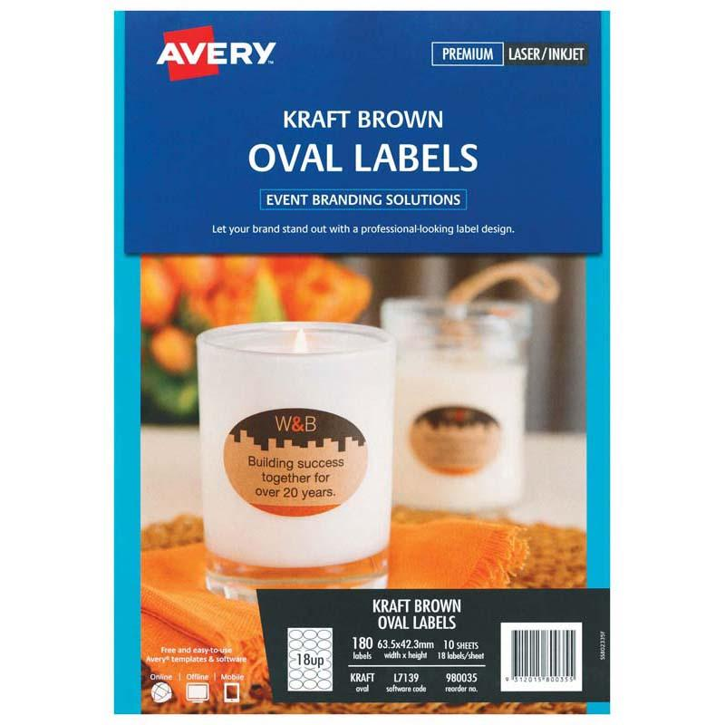 Avery Label L7139 Oval Kraft Brown 18up 10 Sheets