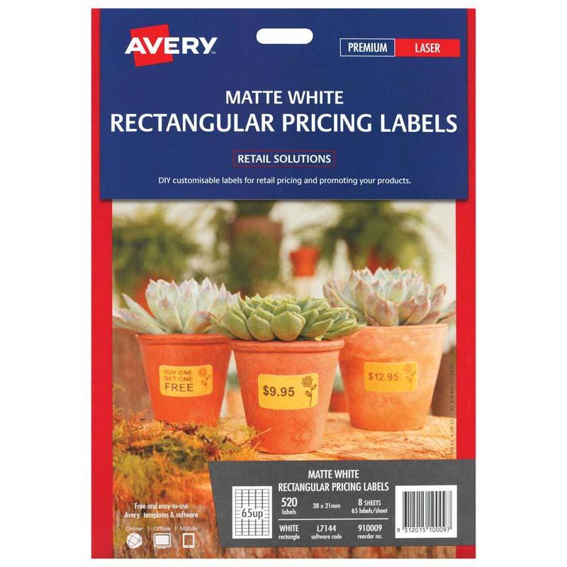 Avery Label L7144 White Rectangular 38x21mm 65up 8 Sheets