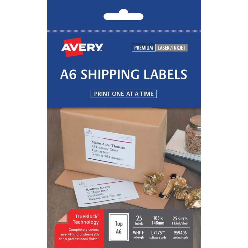 Avery Label L7175 Shipping A6 105x148mm Pack 25