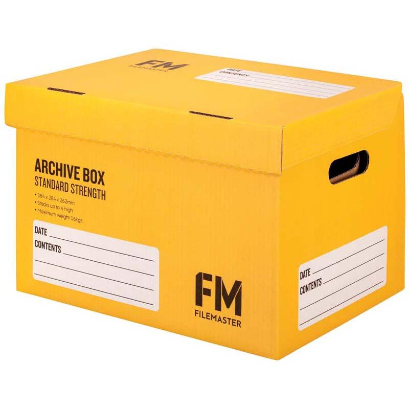 FM Box Archive Yellow Standard Strength 384x284x262mm Inside Measure