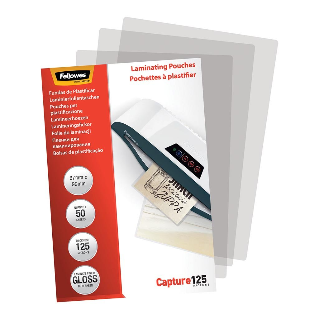 Fellowes Laminating Pouches 67x99mm 125 Micron Pack 50