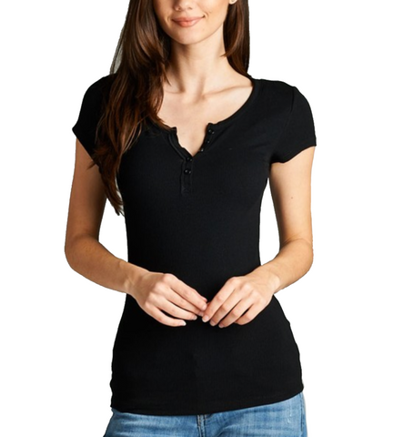 Ladies Black Short Sleeve Henley Top