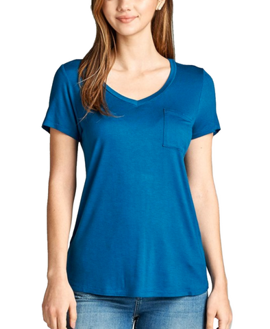 Ladies Simple Blue V-Neck Short Sleeve Top w/ Pocket