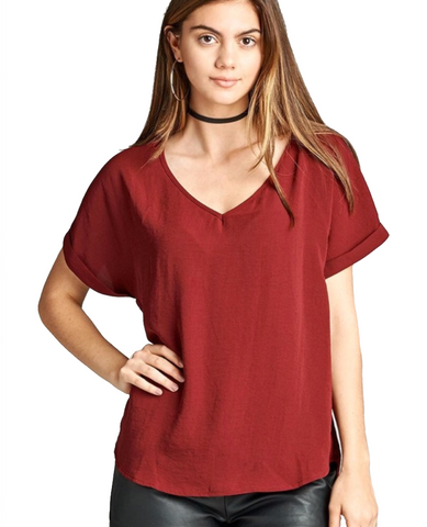 Ladies Burgundy Cuffed Short Sleeve Lightweight Top