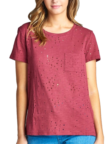 Ladies Burgundy Distressed Cotton Round Neck Short Sleeve Shirt