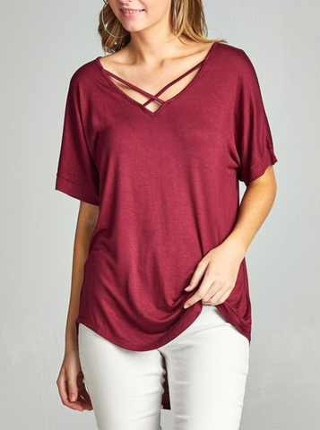 Ladies Burgundy Short Sleeve Dolman Sleeve Criss Cross Front V-Neck
