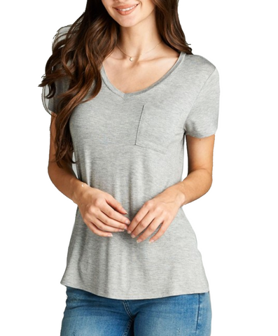 Ladies Simple Grey V-Neck Short Sleeve Top w/ Pocket