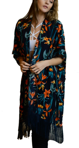 Black Tropical Flower Kimono with Vintage Tassel