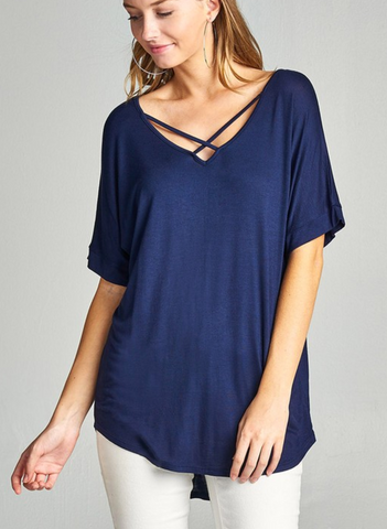 Ladies Navy Blue Short Sleeve Dolman Sleeve Criss Cross Front V-Neck