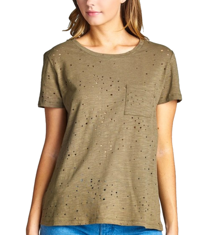 Ladies Olive Distressed Cotton Round Neck Short Sleeve Shirt