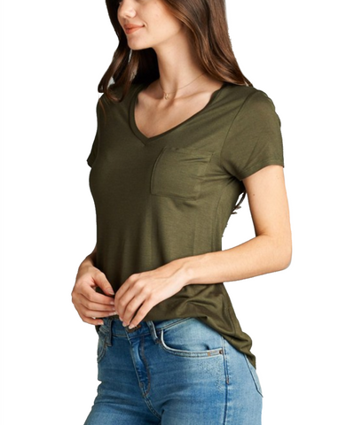 Ladies Simple Olive V-Neck Short Sleeve Top w/ Pocket