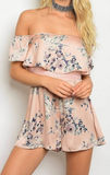 Pink Floral Juliet Off the Shoulder Ruffle Romper