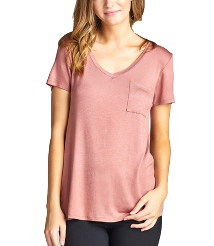 Ladies Simple Pink V-Neck Short Sleeve Top w/ Pocket