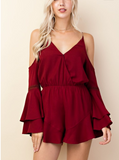 Red Sexy Boho Cold Shoulder Ruffle Short Romper