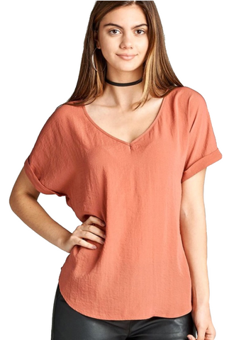 Ladies Salmon Cuffed Short Sleeve Lightweight Top