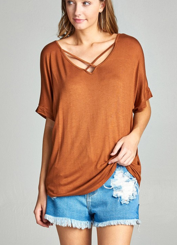 Ladies Light Rust Short Sleeve Dolman Sleeve Criss Cross Front V-Neck