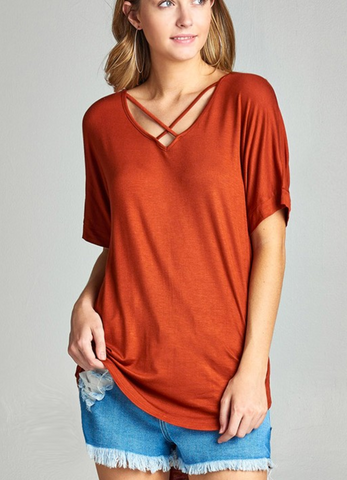 Ladies Dark Rust Short Sleeve Dolman Sleeve Criss Cross Front V-Neck