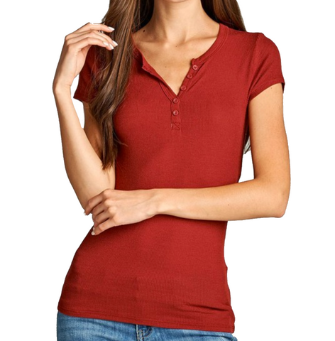 Ladies Rust Short Sleeve Henley Top