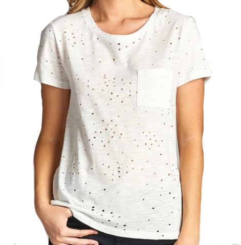 Ladies White Distressed Cotton Round Neck Short Sleeve Shirt