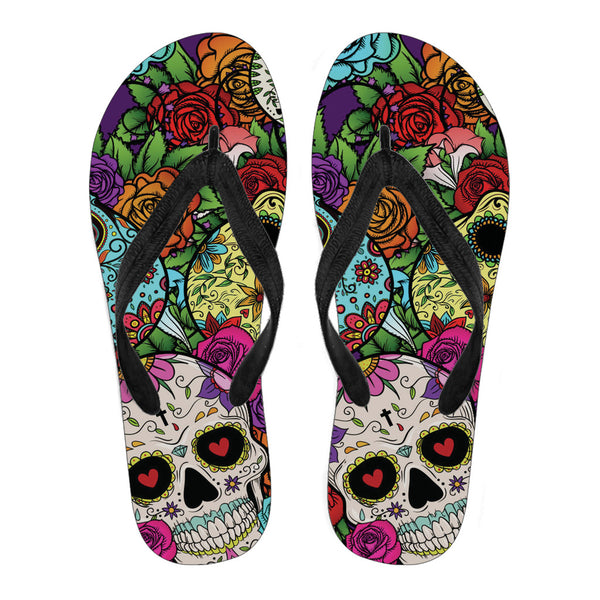 Sugar Skull Men's Flip Flops - Maxtor Graphics