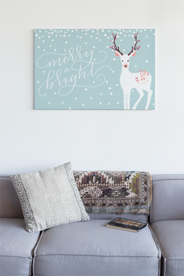 White Reindeer Landscape Canvas - Maxtor Graphics