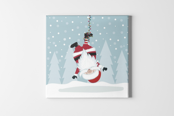 Hanging Santa Square Canvas - Maxtor Graphics