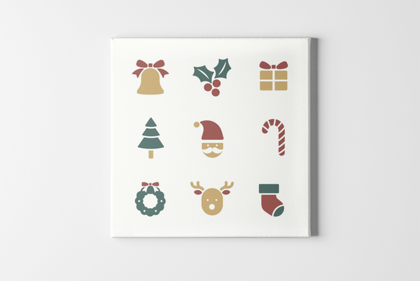 Christmas Icons Square Canvas - Maxtor Graphics