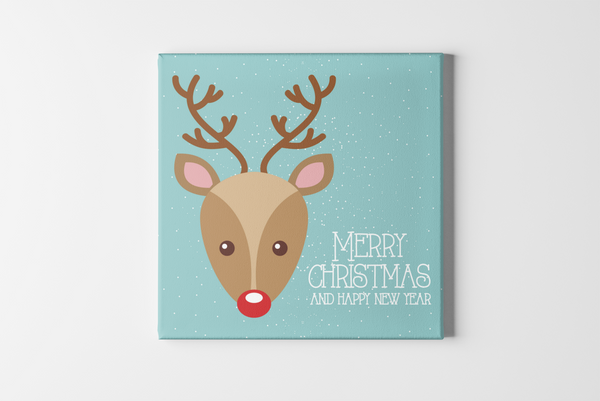 Reindeer Head Square Canvas - Maxtor Graphics
