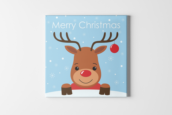 Red Nose Reindeer Square Canvas - Maxtor Graphics