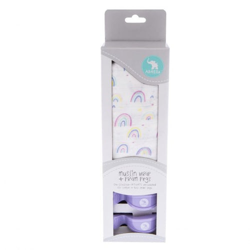All4Ella Muslin Wrap & 2 Pram Pegs - Rainbow