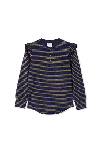 Milky Girls Henley - Navy Stripe