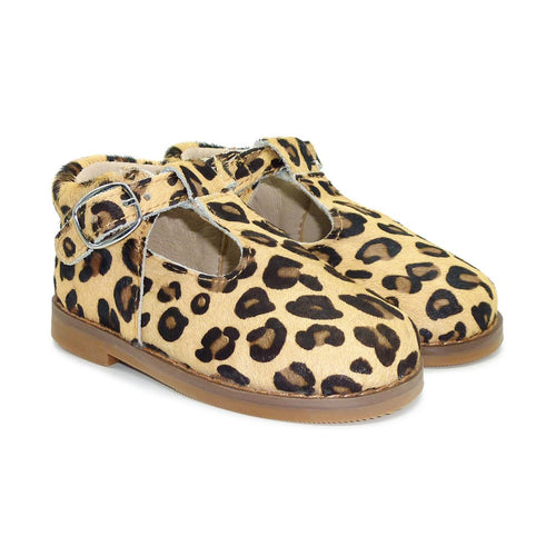 Just Ray Milly Child - Leopard Print T-Bar Shoe