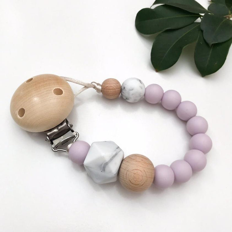 One Chew Three Silicone Dummy Holder - Lilac Marble
