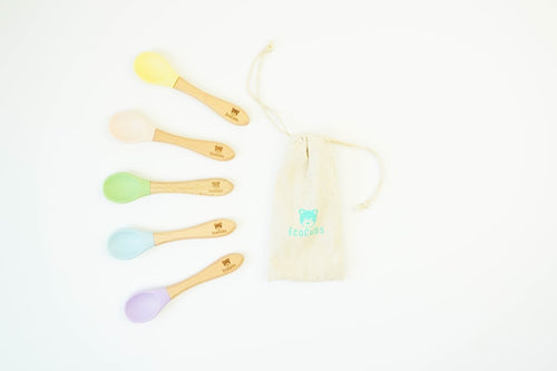 EcoCubs Set of 5 Spoons - Beech and Silicone