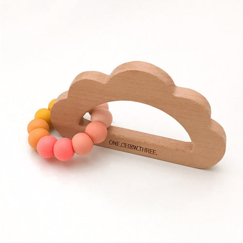 One Chew Three Cloud Silicone & Beech Wood Teether - Sunrise