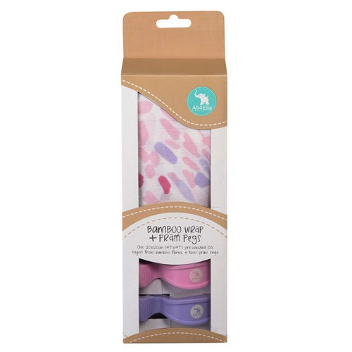 All4Ella Bamboo Wrap & 2 Pram Pegs - Abstract Pink