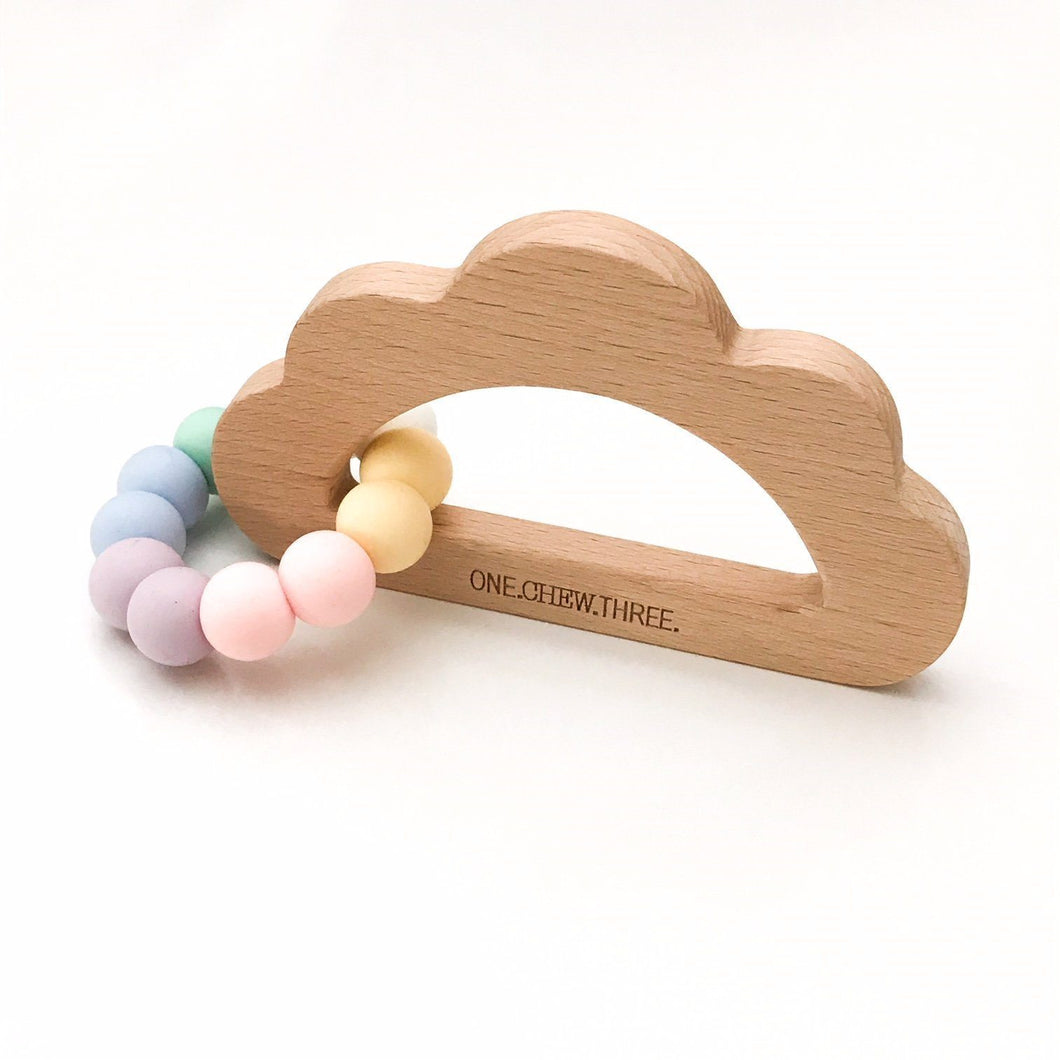 One Chew Three Cloud Silicone & Beech Wood Teether - Pastel Rainbow