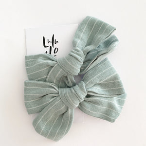 Lulu and Lo Luxe Bow Clip -  Demin Stripe