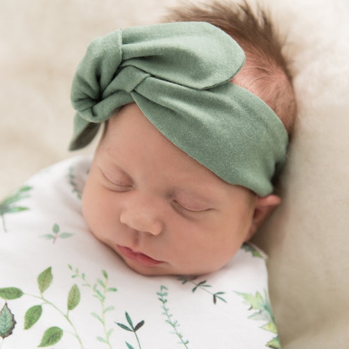 Snuggle Hunny Top Knot Headband - Olive size 0-4 years