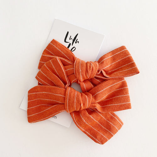 Lulu and Lo Luxe Bow Clip -  Burnt Rust Stripe
