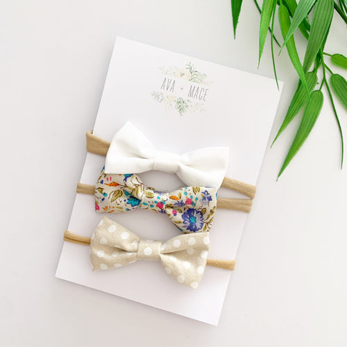 Ava and Mace Headband Pack x 3 White, Floral, Dots