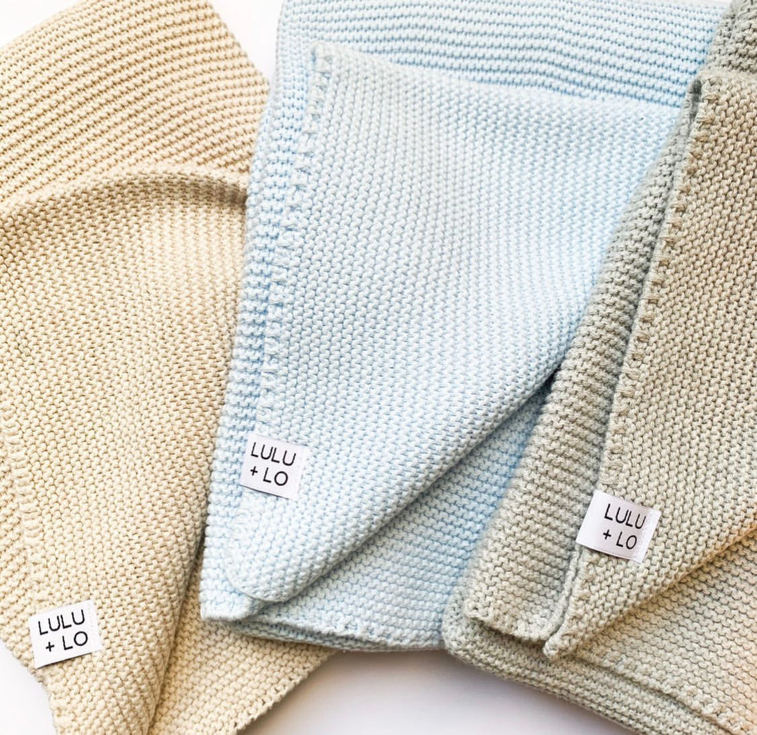 Lulu and Lo - Knitted Blanket - Oatmeal, Blue or Grey