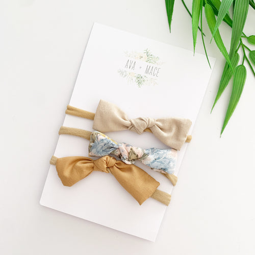 Ava and Mace Headband Pack x 3 Ivory, Floral, Clay