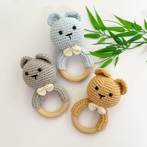 Made By Gabbee Crocheted Rattle - Bear Assorted Colours